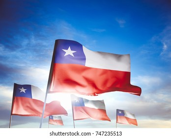 Chile flags waving with pride on a sunny day