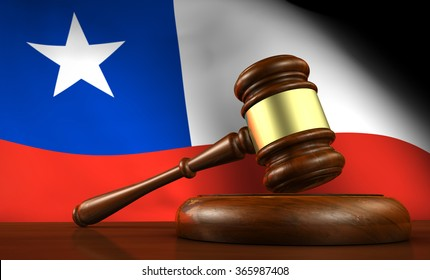 Chile law, legal system and justice concept with a 3d render of a gavel on a wooden desktop and the Chilean flag on background.