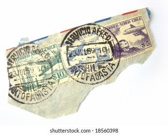 Chile Postage Stamps on a piece of envelope, on white background