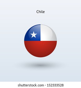 Chile round flag on gray background. See also vector version.