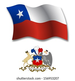 chile shadowed textured wavy flag and coat of arms against white background, art illustration