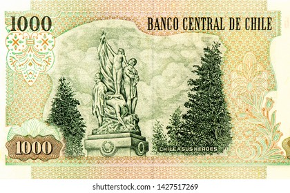 CHILE A SUS HERORA. portrait from on 1000 Chilean Pesos 2007 banknote. Chilean money. Pesos  is the national currency of Chilean. Close Up UNC Uncirculated - Collection.