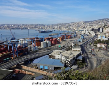 Chile, Valparaiso - June 26, 2016: Elevated view of the harbour from the Artilleria Hill.