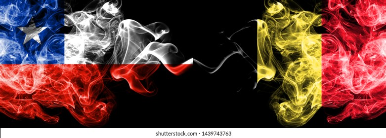 Chile vs Belgium, Belgian smoky mystic flags placed side by side. Thick colored silky smokes combination of Belgium, Belgian and Chilean flag