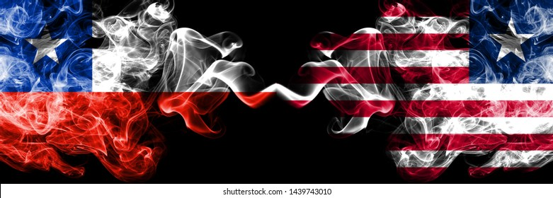Chile vs Liberia, Liberian smoky mystic flags placed side by side. Thick colored silky smokes combination of Liberia, Liberian and Chilean flag