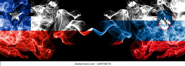 Chile vs Slovenia, Slovenian smoky mystic flags placed side by side. Thick colored silky smokes combination of Slovenia, Slovenian and Chilean flag