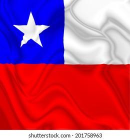 Chile Waving Silk Flag
