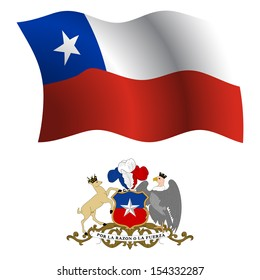 chile wavy flag and coat of arms against white background, art illustration