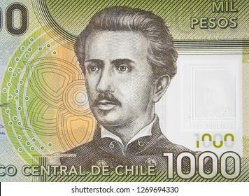 Chilean 1000 peso (2011) banknote close up, Ignacio Carrera Pinto, Chile money currency.