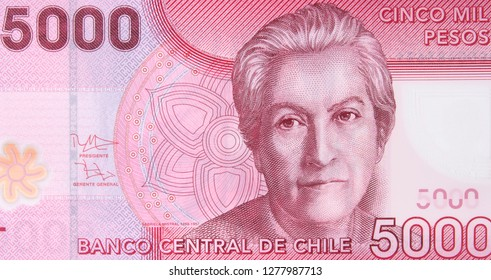 Chilean 5000 peso (2009) banknote. Chile money currency close up. Chile economy.