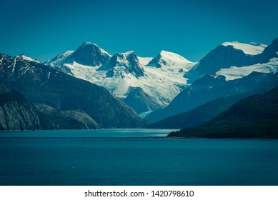 Chilean Fjords, Southern Chile. Patagonia Landscape in winter, the glaciers.