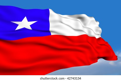 Chilean flag waving on wind