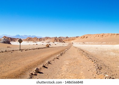 Chilean landscape, dirt road on Valley of the Moon. Chile panorama