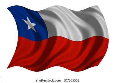 Chilean national official flag. Patriotic symbol, banner, element, background. Correct colors. Flag of Chile with real detailed fabric texture wavy isolated on white, 3D illustration