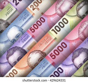 Chilean Peso bills creating a colorful background
