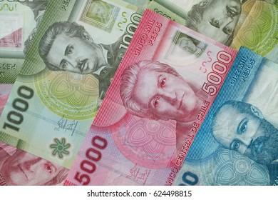 Chilean peso cash banknote background