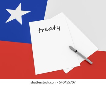 Chilean Politics: Treaty Note With Pen On Chile Flag, 3d illustration