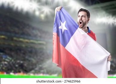 Chilean Soccer player in the stadium