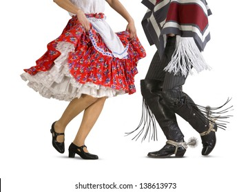 "Chilean typical dance ""cueca"" performed by a woman and a man (Huaso, Chilean cowboy)"