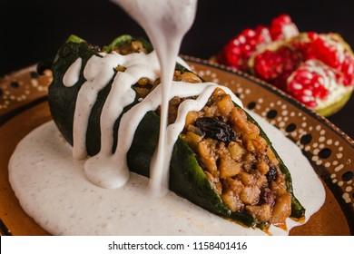 Chiles en Nogada, traditional Mexican cuisine in Puebla Mexico