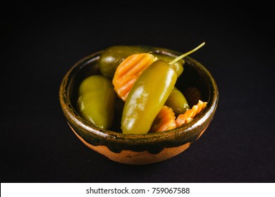 Chiles Jalapeños escabeche vinagre, mexican food chili papper vinegar and carrots mexico city