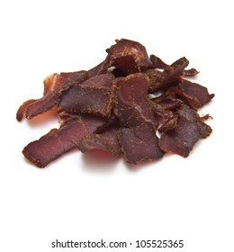 Chili Biltong-(beef jerky) isolated on a white studio background.