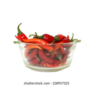 chili in bowl on white background