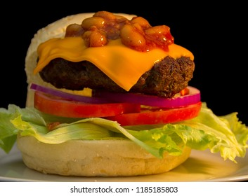 Chili Burger with American Cheese on Lettuce, Tomato and Onion
