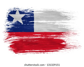 Chili. Chile flag  on white background
