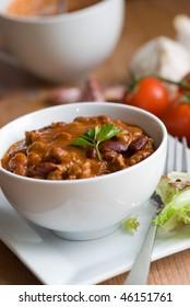 Chili con carne in a bowl