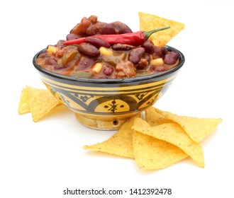 Chili con carne bowl isolated on white background