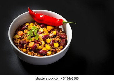 Chili con Carne on black, top view