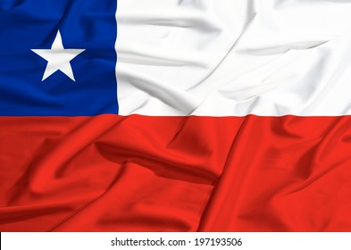 Chili flag on a silk drape waving