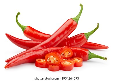 Chili on white isolated. Hot chili peppers with clipping path.