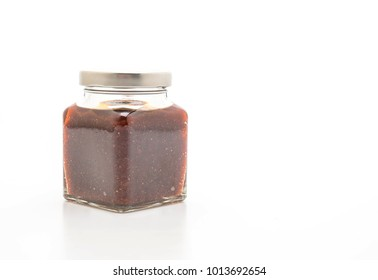 chili paste jar in thai style isolated on white background