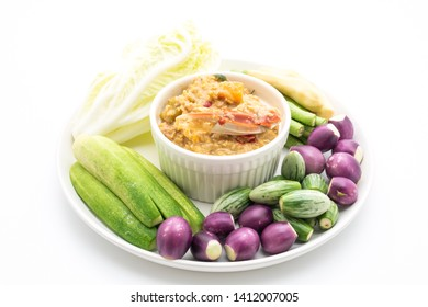 Chili paste simmer with crab or crab and soya dip with coconut milk and vegetables isolated on white background
