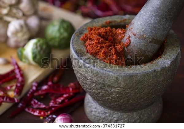Chilipasta in de Thaise keuken