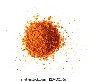 Chili pepper powder isolated on white background. top view