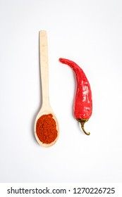Chili pepper in the spoon and bitter red pepper
