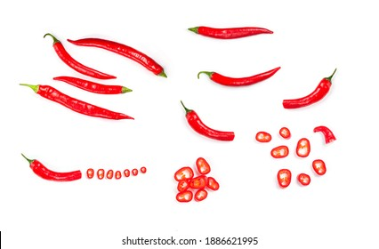 Chili red papper on white isolated background. Fresh mexico hot cayenne spicy. Top view