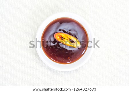 Chili Sauce Top Sliced Chili On Stock Photo (Edit Now) 1264327693