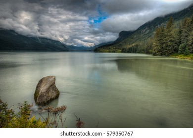Chilkoot Lake in Haines, Alaska on a cloudy Summer day.