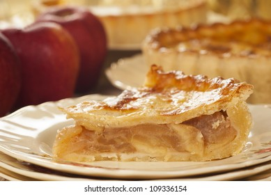 Chilled Apple Pie on Vintage English Plate. Unsharpened file