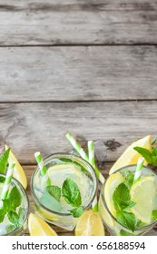 Chilled mint lemonade with mint leaves and fresh lemon. Copy space background.