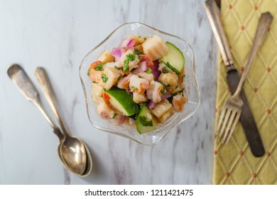 Chilled spicy Peruvian ceviche with shrimp and tilapia