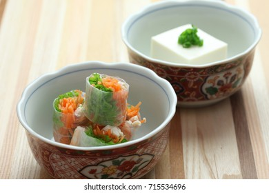 Chilled Tofu and Vietnamese Spring Roll
