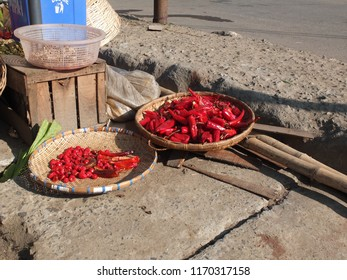 Chilli basket in the open market