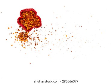 Chilli powder for cooking on white background with top view and copy space.