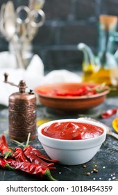 chilli sauce with spice on a table