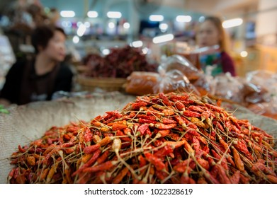 Chillies piled up at the Warorot Market in Chiang Mai, Thailand.